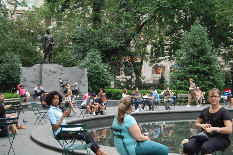 people enjoying MSP near statue