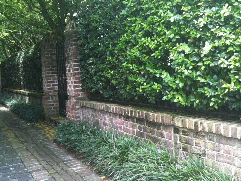 brick wall on street